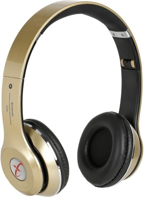 Head Nik Stereo Dynamic Wireless Bluetooth Headset With Mic(Gold, Black)