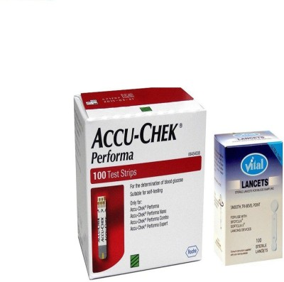 ACCU-CHEK Performa 100 Test Strips With Vital Flat 100 Lancets Health Care Appliance Combo