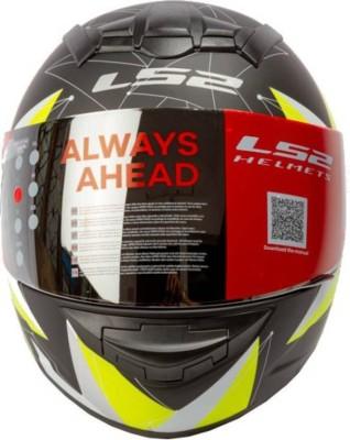 LS2 Vortic Black Yellow with Mercury Visor Motorbike Helmet - L(Black, Yellow)