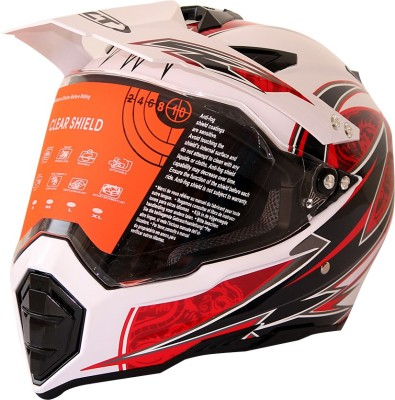WLT 128 WHITE RED Motorbike Helmet - XL