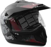 Vega Off Road D/V Gangster Motorsports Helmet(Dull Black red)