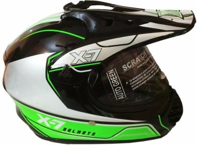 Autogreen X-7 Ninja ISI Black with Green Graphic Motorbike Helmet - L