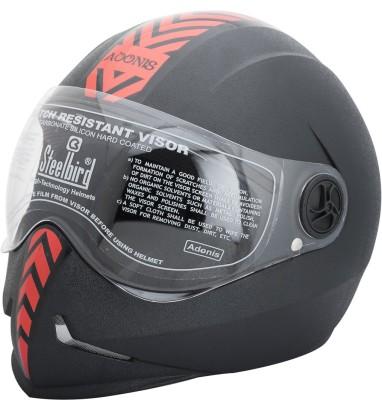 Steelbird Dashing Adonis with Red Sticker Motorbike Helmet - L(Black)