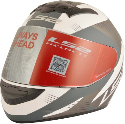 LS2 LS2 FF352 Trooper White Black Full Face Helmet Motorbike Helmet - L(White, Black)