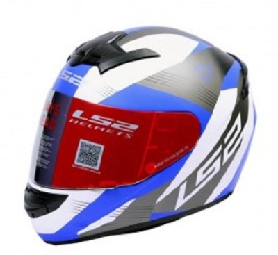 LS2 Trooper Motorsports Helmet(White, Blue)
