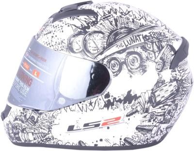 LS2 Lunatic Pearl White With Mercury Visor Motorbike Helmet - XL