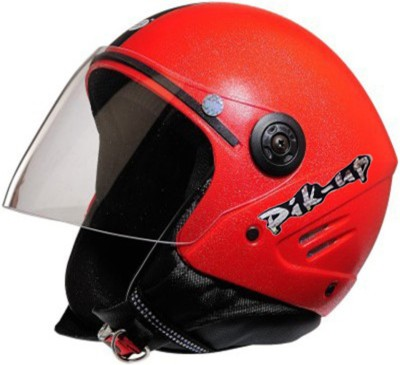 Pik-Up Open Face ISI Red Motorbike Helmet - M