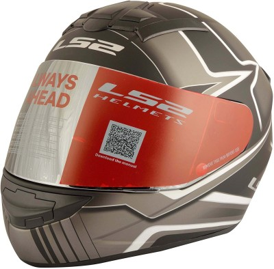 LS2 LS2 FF352 Max Black White Full Face Helmet Motorbike Helmet - L(Black, White)