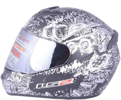 LS2 Lunatic Black Silver With Mercury Visor Motorbike Helmet - XL