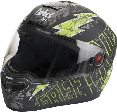 Steelbird SBA-Free Live Matte Black & Green Motorbike Helmet - L