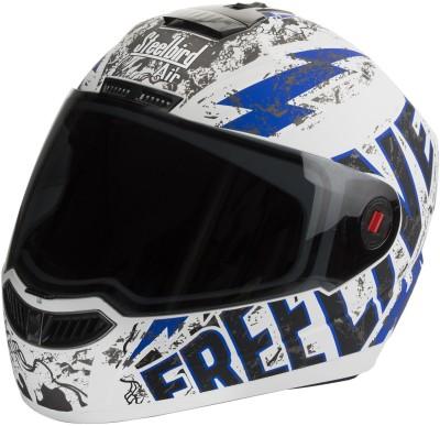 Steelbird SBA- 1 Free Live Matt White & Blue Motorbike Helmet - L