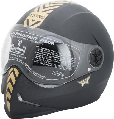 Steelbird Dashing Adonis with Golden Sticker Motorbike Helmet - L(Black)