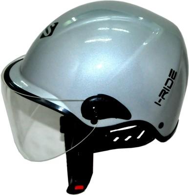 Saviour I-Ride Glossy Unisex Silver - Clear Visor Motorbike Helmet - M