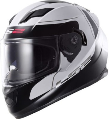 LS2 LS2 FF320 Lunar White Black with Dual Visor Motorbike Helmet - L, XL