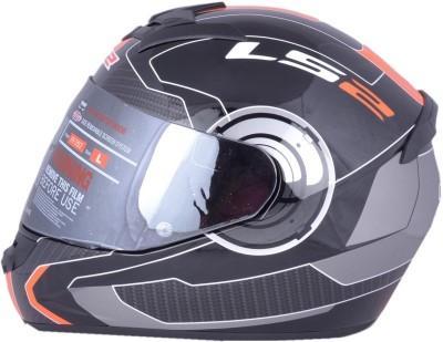 LS2 Atmos Black Orange With Mercury Visor Motorbike Helmet - XL