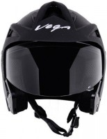 Vega Crux OF (Open Face) Motorbike Helmet - L(Black)
