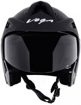 Vega Crux OF (Open Face) Motorbike Helmet - L(Black)