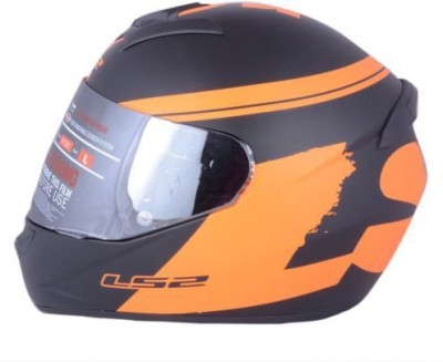 LS2 Bulky Motorbike Helmet - L(Black, Orange)