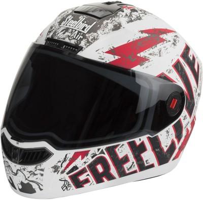 Steelbird SBA-1 Free Live Matt White & Red Motorbike Helmet - L