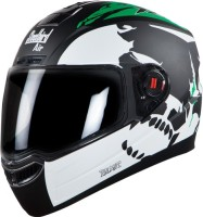 Steelbird SBA-1 Beast Motorbike Helmet(SBA-1 Beast Glossy Black and Green with Smoke Visor Medium 580MM)
