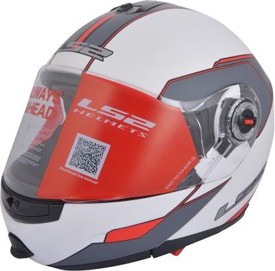 LS2 Midnight Motorbike Helmet - L, XL(White, Red)