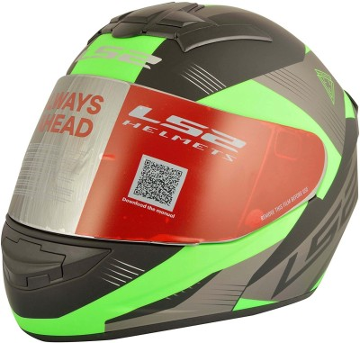 LS2 Trooper Motorbike Helmet - L(Black, Green)