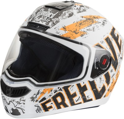 Steelbird SBA-1 Free Live Matt White & Orange Motorbike Helmet - L