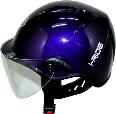 Saviour I-Ride Glossy Unisex Purple - Clear Visor Motorbike Helmet - M
