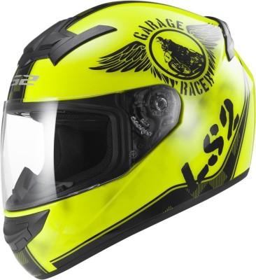 LS2 Fan Motorbike Helmet - L, XL(Black, Yellow)
