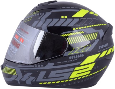 LS2 Tron Black Yellow With Mercury Visor Motorbike Helmet - XL