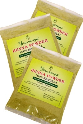 Yauvanya 100% Natural Henna Powder - Pack of 3(300 g)