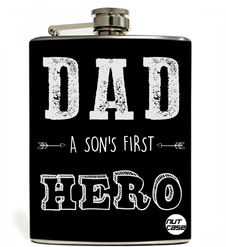 Nutcase Stainless Steel Hip Flask FATHERS DAY - Son's First Hero