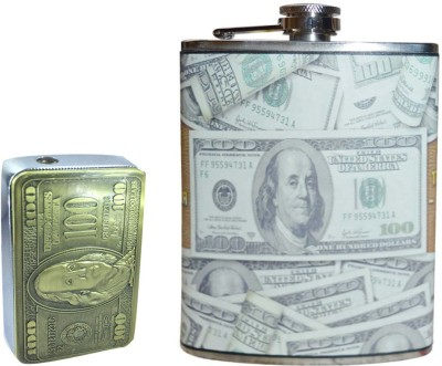 Soy Impulse Combo of Stylish Lighter and Dollar Leather Hip Flask