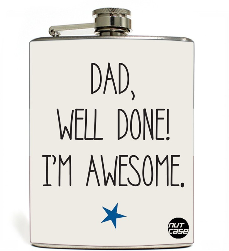 Nutcase Stainless Steel Hip Flask FATHERS DAY - Well Done Dad
