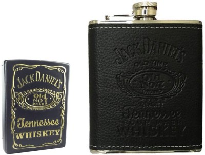 Soy Impulse Combo of Stylish Lighter and Jack Daniel Leather Hip Flask