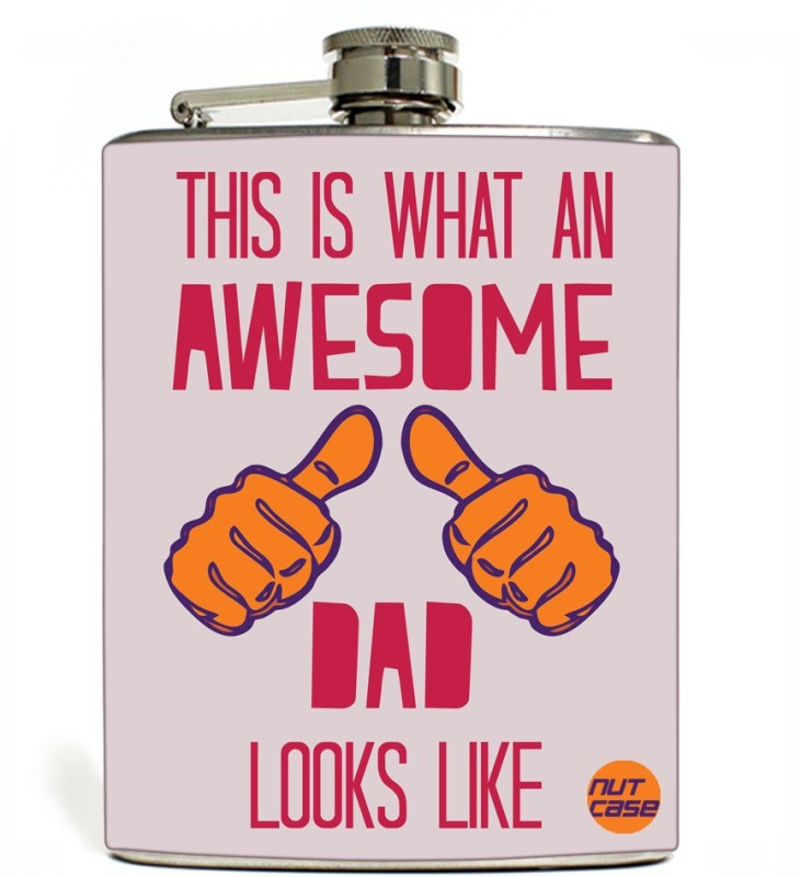 Nutcase Stainless Steel Hip Flask FATHERS DAY - Awesome dad Light Pink