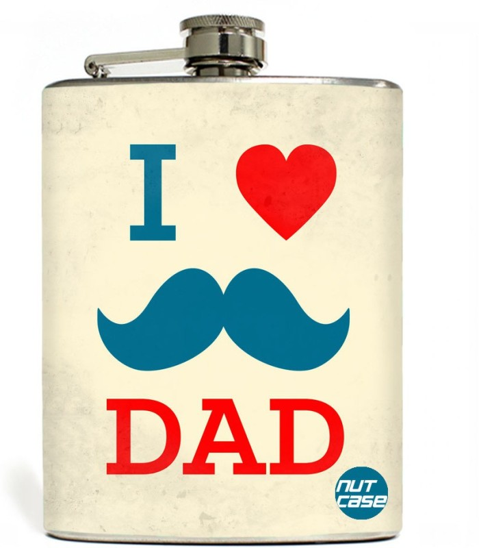 Nutcase Stainless Steel Hip Flask FATHERS DAY - I LOVE MY DAD