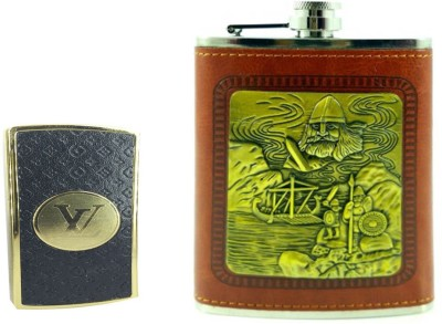 Soy Impulse Combo of Stylish Lighter and Pirates Brown Leather Hip Flask