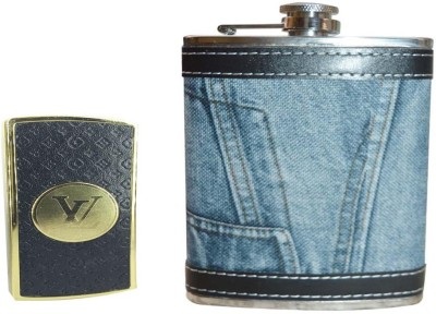 Soy Impulse Combo of Stylish Lighter and Jeans Leather Hip Flask