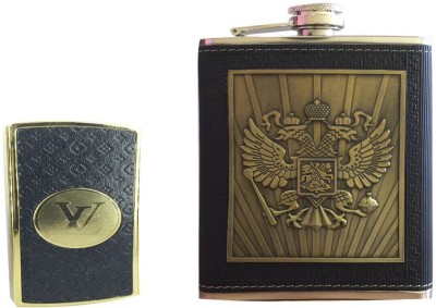 Soy Impulse Combo of Stylish Lighter and Eagle Black Leather Hip Flask