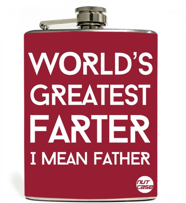 Nutcase Stainless Steel Hip Flask FATHERS DAY - World's Greatest Farter - Red