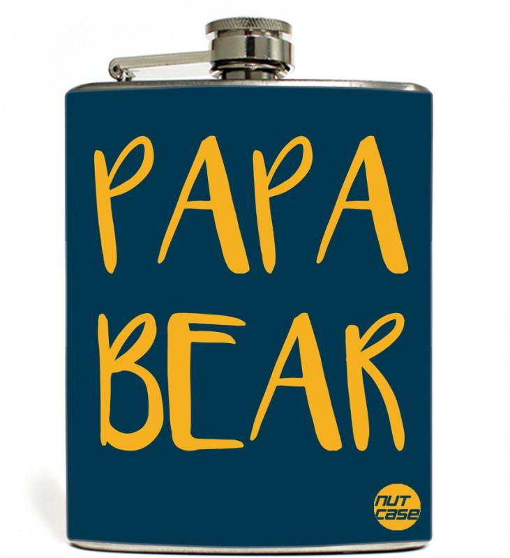 Nutcase Stainless Steel Hip Flask FATHERS DAY - Papa Bear