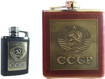 Soy Impulse Combo of Stylish Lighter and CCCP Brown Leather Hip Flask