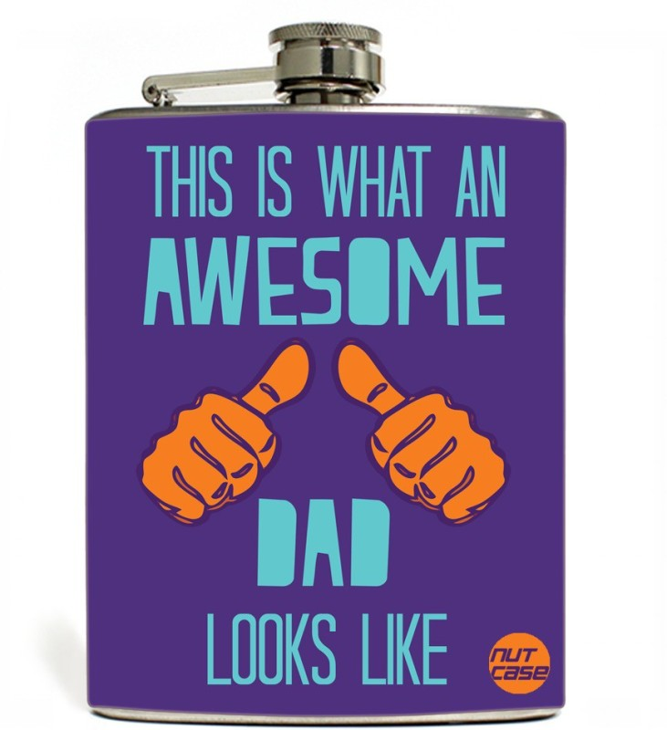 Nutcase Stainless Steel Hip Flask FATHERS DAY - Awesome dad Purple