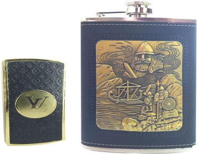 Soy Impulse Combo of Stylish Lighter and Pirates Black Leather Hip Flask
