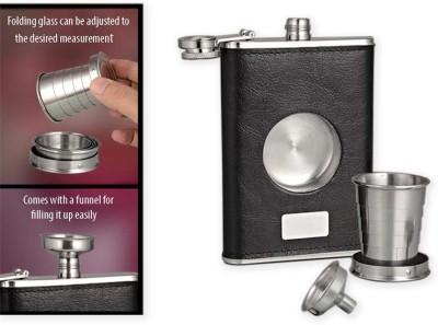 Power Plus Premium Leather Finish Hip Flask