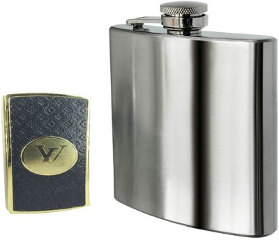 Soy Impulse Combo of Stylish Lighter and Plain steel Hip Flask
