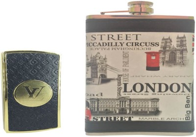 Soy Impulse Combo of Stylish Lighter and London Leather Hip Flask