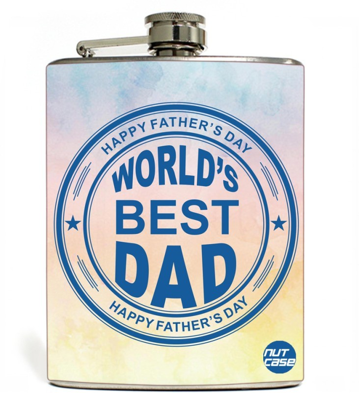 Nutcase Stainless Steel Hip Flask FATHERS DAY - World best day stamp