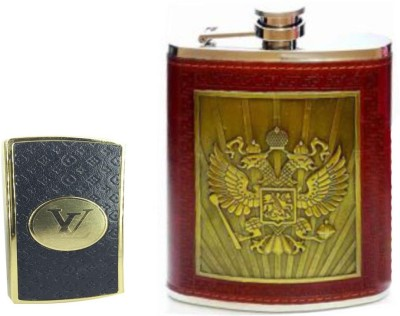 Soy Impulse Combo of Stylish Lighter and Eagle Brown Leather Hip Flask